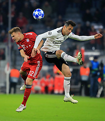 27.11.2018, Champions League  Saison 2018/ 2019, . Bayern vs Benfica Lissabon, Allianz Arena, Muenchen, Sport, im Bild:..Joshua Kimmich (FCB) vs Jonas ( Benfica)..DFL REGULATIONS PROHIBIT ANY USE OF PHOTOGRAPHS AS IMAGE SEQUENCES AND / OR QUASI VIDEO...Copyright: Philippe Ruiz..Tel: 089 745 82 22.Handy: 0177 29 39 408.e-Mail: philippe_ruiz@gmx.de. (Credit Image: © Philippe Ruiz/Xinhua via ZUMA Wire)