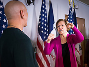 16 DECEMBER 2019 - KEOKUK, IOWA: US Senator ELIZABETH WARREN (D-MA) talks to a man after her speech during a campaign event in Keokuk, IA, Monday. About 100 people attended the town hall. Warren is campaigning in southeastern Iowa this weekend to support her effort to be the Democratic nominee for the US presidential race in 2020. This was Warren's 185th town hall, and 88th event in Iowa. Iowa traditionally hosts the first presidential selection event of the campaign season. The Iowa caucuses are Feb. 3, 2020.      PHOTO BY JACK KURTZ
