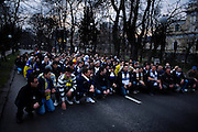 Fans of the Bosnian national handball team rally and march from the Grbavica neighborhood of Sarajevo to the national stadium at Skenderija before a EURO2010 match between Bosnia and Serbia. Bosnia won the match 31:28.