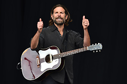 Bradley Cooper films scenes for upcoming film 'A Star Is Born' on the Pyramid Stage, during the Glastonbury Festival at Worthy Farm in Pilton, Somerset. Picture date: Friday June 23rd, 2017. Photo credit should read: Matt Crossick/ EMPICS Entertainment.