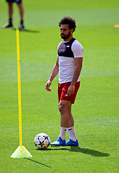 LIVERPOOL, ENGLAND - Monday, May 21, 2018: Liverpool's Mohamed Salah during a training session at Anfield ahead of the UEFA Champions League Final match between Real Madrid CF and Liverpool FC. (Pic by Paul Greenwood/Propaganda)