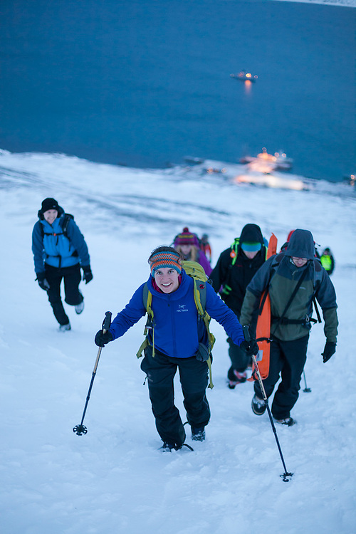 Mylène Jacquemart and other UNIS students hike up to Sverdruphamaren outside Longyearbyen, Svalbard.<br /> <br /> Pictured: Alistair Everett