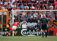Alan Shearer scores the winning goal for England. England v Germany, Euro 2000, Chaleroi, Belgium. Credit: Colorsport / Matthew Impie.