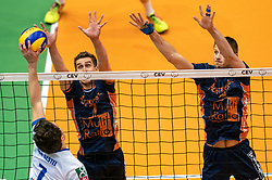 12-05-2019 NED: Abiant Lycurgus - Achterhoek Orion, Groningen<br /> Final Round 5 of 5 Eredivisie volleyball, Orion wins Dutch title after thriller against Lycurgus 3-2 / Pim Kamps #7 of Orion, Wessel Anker #2 of Orion, Frits van Gestel #7 of Lycurgus