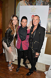 Left to right, LYZA ONYSKO, JOSHUA FENU and JULIEN MACDONALD at a dinner for JF London x Kyle DeVolle held at Beach Blanket Babylon, Ledbury Road, London on 29th September 2016.