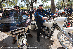Barnstorm Cycles' Jake Cutler (L) and Sean Briggs at the Cycle Source Magazine show at the Broken Spoke Saloon during Daytona Beach Bike Week. FL. USA. Tuesday, March 14, 2017. Photography ©2017 Michael Lichter.