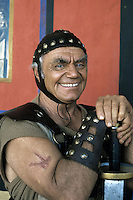American actor Ernest Borgnine seen on the filmset of the tv mini series'Last days of Pompeii'. 1983. Photographed by Terry Fincher