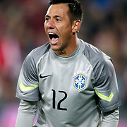 Brazil's goalkeeper Diego Alves during their a international friendly soccer match Turkey betwen Brazil at Sukru Saracoglu Arena in istanbul November 12, 2014. Photo by Aykut AKICI/TURKPIX