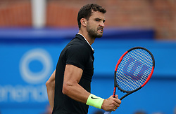 Bulgaria's Grigor Dimitrov celebrates winning the second set against Spain's Feliciano Lopez during day six of the 2017 AEGON Championships at The Queen's Club, London.