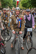 "Alternative safety gear - The Tweed Run - a group bicycle ride through the centre of London, in which the cyclists are expected to dress in traditional British cycling attire, particularly tweed plus four suits. Any bicycle is acceptable on the Tweed Run, but classic vintage bicycles are encouraged in an effort to recreate the spirit of a bygone era. The ride dubs itself ""A Metropolitan Cycle Ride With a Bit of Style."" London 06 May 2017"