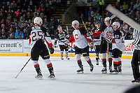 KELOWNA, CANADA - OCTOBER 23: Jesse Gabrielle #13 of Prince George Cougars celebrates a goal against the Kelowna Rockets on October 23, 2015 at Prospera Place in Kelowna, British Columbia, Canada.  (Photo by Marissa Baecker/Shoot the Breeze)  *** Local Caption *** Jesse Gabrielle;