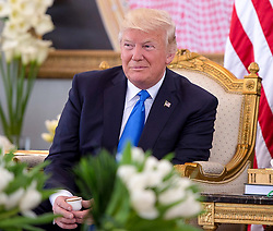 US President Donald Trump having a traditional Arabian coffee at Royal Palace in Riyadh, Saudi Arabia on May 20, 2017. This is the first US president's visit abroad. Photo by Balkis Press/ABACAPRESS.COM