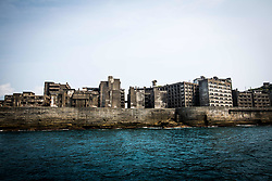 "August 8, 2017 - Nagasaki, Nagasaki Prefecture, Japan - The Hashima Island, commonly known as Gunkanjima or ""Battleship Island'' in Nagasaki Prefecture, southern Japan on August 8, 2017. The island was a coal mining facility until its closure in 1974 is a symbol of the rapid industrialization of Japan, a reminder of its dark history as a site of forced labor during the Second World War. The island now is recognized as UNESCO's World Heritage sites of Japan's Meiji Industrial Revolution. (Credit Image: © Richard Atrero De Guzman/NurPhoto via ZUMA Press)"