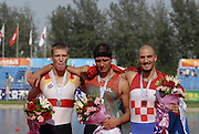 Beijing, CHINA, Juniors men's single sculls finalist, left GERJM1X  Mathais ROCHER silver, centre, BUL JM1X Alexandar ALEKANDROV, Ggold medallist and right CROO JM1X Martin SINKOVIC bronge medal, at  the  2007. FISA Junior World Rowing Championships,  Shunyi Water Sports Complex. 11/08/2007 [Photo, Peter Spurrier/Intersport-images]..... , Rowing Course, Shun Yi Water Complex, Beijing, CHINA,