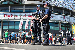 © Licensed to London News Pictures. 27/05/2017. London, UK. Armed police patrol outside Twickenham stadium ahead of the Aviva Premiership Rugby Final. Security has been increased at venues across the UK, with the military called in to help police, following a terrorist attack at a music concert in Manchester on Monday evening. Photo credit: Peter Macdiarmid/LNP