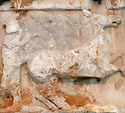 Hera driving a chariot  from the Parthenon reliefs. At the Acropolis Museum Athens, Greece.
