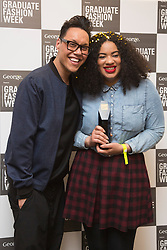 © Licensed to London News Pictures. 02/06/2015. London, UK. Hannah Wallace, 24, from Manchester School of Art, winner of the George Gold Award, poses with Gok Wan. Graduate Fashion Week 2015 concludes with the Gala Awards Show at the Old Truman Brewery, London. Photo credit : Bettina Strenske/LNP