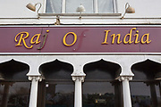 With the missing letter f, an exterior of the Raj of India, Indian restaurant, a fading exterior for eat-in or takeaway south-Asian foods in the suburban town of Swanley in south-east London, on 3rd February 2020, in Swanley, London, England.