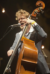 Ted Dwane of Mumford & Sons headline the main stage on Friday night..Rockness 2012..©Michael Schofield..