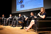 """Rebecca Hough, COO Plugless Power, shares her views on the panel """"Where Are You Joe Schumpeter? A Discussion on Electric Vehicles."""" Manhattan Chamber of Commerce's Transportation Transformation Global Summit at NYIT in New York on April 26, 2012."""