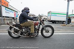 Brat Styles' Go Takamine on the Blue Groove shop ride from Kamakura to Miura Penninsula. Japan. Monday December 4, 2017. Photography ©2017 Michael Lichter.