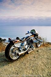 Arlen Ness' custom known as Blower Bike overlooking the Pacific Ocean. Sausolito Hills, CA. Photograph ©Michael Lichter 1987