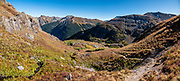 I hiked Ice Lakes Basin as a memorable loop (8.9 miles with 3120 feet gain) from USFS South Mineral Campground to Lower and Upper Ice Lakes, then up to Fuller Lake, and back via Island Lake, near Silverton, Colorado, USA. Or, to Upper Ice Lake alone is 7.4 miles round trip with 2400 ft gain. This image was stitched from multiple overlapping photos.