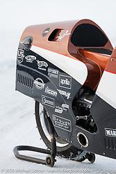 French custom bike builder Bertrand Dubet's partially streamlined Aprilia RSV4 racer at the Baikal Mile Ice Speed Festival. Maksimiha, Siberia, Russia. Wednesday, February 26, 2020. Photography ©2020 Michael Lichter.