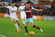 Aaron Cresswell of West Ham Utd in action. Barclays Premier league match, Swansea city v West Ham Utd at the Liberty Stadium in Swansea, South Wales  on Sunday 20th December 2015.<br /> pic by  Andrew Orchard, Andrew Orchard sports photography.