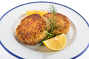 Crab cakes photographed with high key lighting in studio