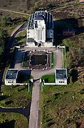 Nederland, Gelderland, Gemeente Barneveld, 03-10-2010; Radio Kootwijk, .voormalige PTT-zendstation en zenderpark, aangekocht door Dienst Landelijk gebied. Gebouw A (het hoofdgebouw) heeft als bijnaam 'de Kathedraal' en  is een Rijksmonument..Radio Kootwijk, former PTT station and radio transmitter site. Building A (the main building) is nicknamed 'The Cathedral' and is a listed building..luchtfoto (toeslag), aerial photo (additional fee required).foto/photo Siebe Swart