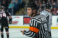 KELOWNA, BC - FEBRUARY 17: Referee Duncan Brow looks to the bench during second period at the Kelowna Rockets against the Calgary Hitmen at Prospera Place on February 17, 2020 in Kelowna, Canada. (Photo by Marissa Baecker/Shoot the Breeze)