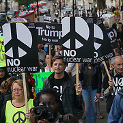London, England, UK. 28th September 2017. Campaign for Nuclear Disarmament and Stop the War Coalition protest and rally to demand Theresa May to Stop Trump and Kim Jong-Un Nuclear threat call for a peaceful solution.
