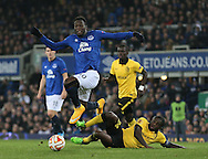 Romelu Lukaku of Everton jumps past the tackle made by Rio Antonio Mavuba of Lille - UEFA Europa League - Everton vs  Lille - Goodison Park Stadium - Liverpool - England - 6th November 2014 - Pic Simon Bellis/Sportimage