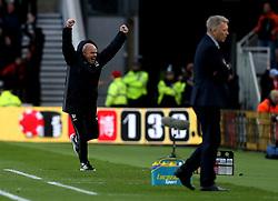 Middlesbrough manager Steve Agnew celebrates Marten de Roon of Middlesbrough scoring a goal as Sunderland manager David Moyes looks dejected - Mandatory by-line: Robbie Stephenson/JMP - 26/04/2017 - FOOTBALL - Riverside Stadium - Middlesbrough, England - Middlesbrough v Sunderland - Premier League
