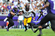 FORT WORTH, TX - SEPTEMBER 13:  David Cobb #27 of the Minnesota Golden Gophers breaks free against the TCU Horned Frogs on September 13, 2014 at Amon G. Carter Stadium in Fort Worth, Texas.  (Photo by Cooper Neill/Getty Images) *** Local Caption *** David Cobb