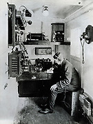 Typical wireless telegraph cabin on board a ship in 1912.