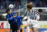 Milano 12/2/2004 Coppa Italia - Italy Cup - Semifinale <br />Inter - Juventus 2-2 (6-7 after penalties) <br />Dejan Stankoivc (Inter) and Pavel Nedved (Juventus)<br />Photo Graffiti