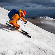 Roch Schenk skiing on Etna Volcano, Sicily