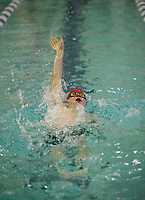 Laconia's Eric Phelps competes in the 200 IM placing sixth during the NHIAA Division II State Championships at Swasey Pool/UNH on Saturday.  (Karen Bobotas/for the Laconia Daily Sun)