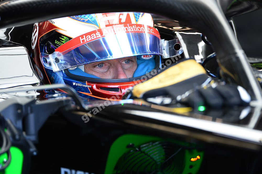 Romain Grosjean (Haas-Ferrari) in the pits with his helmet on during practice for the 2019 Canadian Grand Prix in Montreal. Photo: Grand Prix Photo