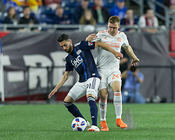 May 30, 2018 - Foxborough, Massachusetts, USA - Foxborough, Massachusetts - May 30, 2018: In a Major League Soccer (MLS) match, New England Revolution (blue/white) tied Atlanta United FC (white), 1-1, at Gillette Stadium. (Credit Image: © Andrew Katsampes/ISIPhotos via ZUMA Wire)