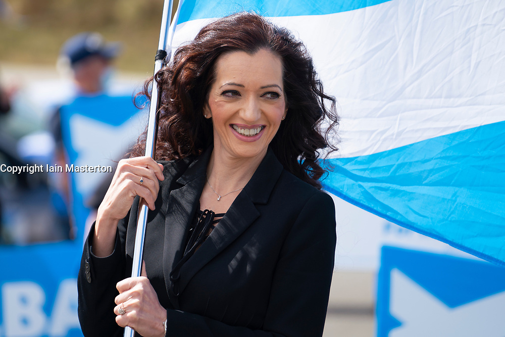 Falkirk, Scotland, UK. 30 April 2021. Leader of the pro Scottish nationalist Alba Party , Alex Salmond, campaigns with party supporters at the Falkirk Wheel ahead of Scottish elections on May 6th. Pic; list candidate for Central Scotland Tasmina Ahmed-Sheikh.  Iain Masterton/Alamy Live News