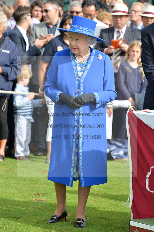 HM THE QUEEN at the Cartier Queen's Cup Final polo held at Guards Polo Club, Smith's Lawn, Windsor Great Park, Egham, Surrey on 15th June 2014.