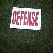 NEW HAVEN, CONNECTICUT - NOVEMBER 18:  A Harvard defense sign left on the field during the Yale V Harvard, Ivy League Football match at the Yale Bowl. Yale won the game 24-3 to win their first outright league title since 1980. The game was the 134th meeting between Harvard and Yale, a historic rivalry that dates back to 1875. New Haven, Connecticut. 18th November 2017. (Photo by Tim Clayton/Corbis via Getty Images)