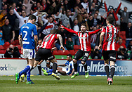 Billy Sharp of Sheffield Utd  celebrates his goal during the English League One match at  Bramall Lane Stadium, Sheffield. Picture date: April 30th 2017. Pic credit should read: Simon Bellis/Sportimage