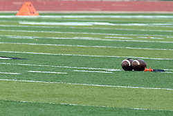 12 October 2013:  A pair of NCAA footballs rest on Wilder Field during an NCAA division 3 football game between the North Park vikings and the Illinois Wesleyan Titans in Tucci Stadium on Wilder Field, Bloomington IL