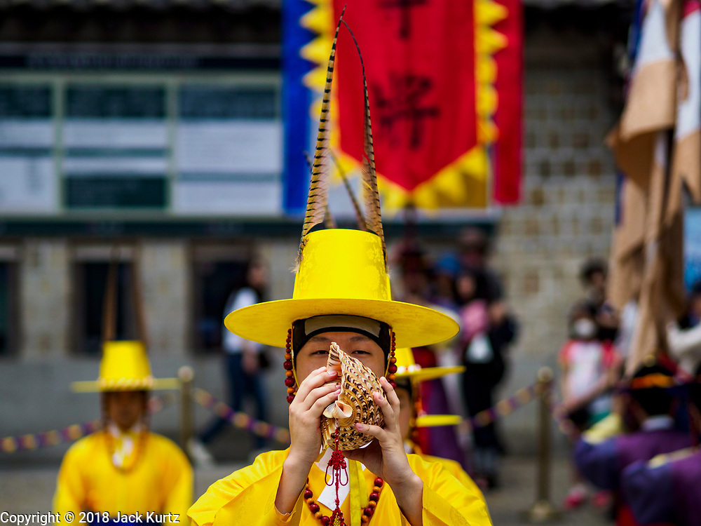 17 JUNE 2018 - SEOUL, SOUTH KOREA: The Changing of the Guard ceremony Deoksugung Palace in central Seoul, near city hall. The ceremony follows a tradition that goes back to when Korea had monarchs.          PHOTO BY JACK KURTZ