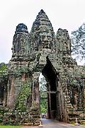 South Gate, Bridge to Angkor Thom, Angkor, Siem Reap, Cambodia,