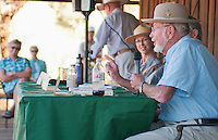 Sarah Craighead (left), superintendent of Death Valley National Park from 2009-2012, leads a panel discussion with former superintendents JT Reynolds (2001-2009; not visible in photo), Dick Martin (1994-2001; not visible in photo), and Ed Rothfuss (1982-1994) at the Grand Re-Opening of the Furnace Creek Visitor Center on November 4, 2012.